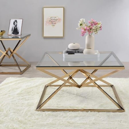 Glass Top End Table With Metal Base - CT-25